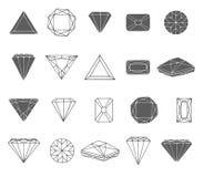 Schizzo disegnato a mano di vettore dell'illustrazione dell'icona del diamante su fondo bianco royalty illustrazione gratis