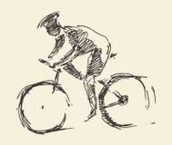Schizzo disegnato a mano di vettore della bici dell'uomo del cavaliere del ciclista illustrazione vettoriale