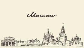 Schizzo disegnato a mano di vettore della Russia dell'orizzonte di Mosca royalty illustrazione gratis