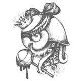Schizzo disegnato a mano di vettore della stampa con l'illustrazione della lumaca del polipo su fondo bianco illustrazione vettoriale