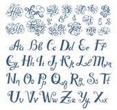 Schizzo disegnato a mano di vettore delle parole di preposizioni nell'illustrazione d'annata di stile su fondo bianco illustrazione di stock