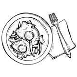 Schizzo disegnato a mano Fried Eggs su un piatto Immagini Stock Libere da Diritti