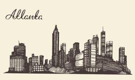 Schizzo disegnato a mano inciso orizzonte di Atlanta Immagini Stock Libere da Diritti