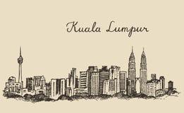 Schizzo disegnato a mano inciso orizzonte di Kuala Lumpur Fotografia Stock Libera da Diritti