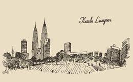 Schizzo disegnato a mano inciso orizzonte di Kuala Lumpur Immagini Stock