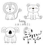 Schizzo disegnato a mano sveglio di vettore dell'animali svegli Illustrazione di vettore Fotografia Stock