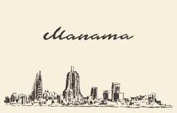 Schizzo disegnato vettore del Bahrain dell'orizzonte di Manama Fotografia Stock