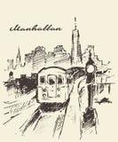 Schizzo disegnato vettore di Manhattan New York del tram Fotografia Stock Libera da Diritti