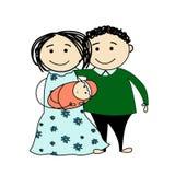 Schizzo divertente di una famiglia felice royalty illustrazione gratis