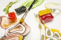 Schizzo e cubi dell'acquerello Immagini Stock