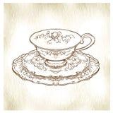 Schizzo fatto a mano degli insiemi di tè Illustrazione di vettore Immagini Stock Libere da Diritti