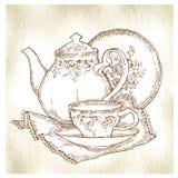 Schizzo fatto a mano degli insiemi di tè Illustrazione di vettore Fotografie Stock