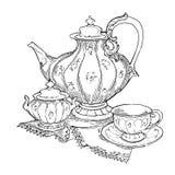 Schizzo fatto a mano degli insiemi di tè Illustrazione di vettore Fotografia Stock Libera da Diritti