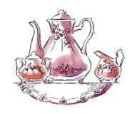 Schizzo fatto a mano degli insiemi di tè Illustrazione di vettore Fotografia Stock
