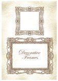 Schizzo fatto a mano dei telai decorati Fotografia Stock Libera da Diritti