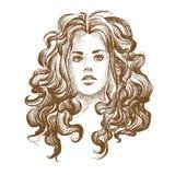 Schizzo grafico di una ragazza Illustrazione di vettore fotografia stock
