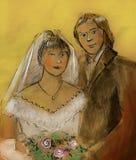 Schizzo Grungy delle persone appena sposate Fotografia Stock Libera da Diritti