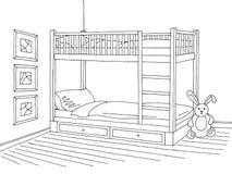 Schizzo interno bianco nero grafico della stanza di bambini Fotografia Stock