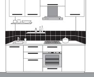 Schizzo interno della stanza della cucina Progettazione del modello del profilo del corredo Fotografie Stock Libere da Diritti