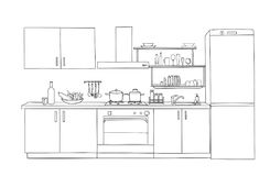 Schizzo interno della stanza della cucina Progettazione della mobilia del modello del profilo Fotografie Stock