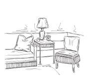 Schizzo interno moderno della stanza Mobilia disegnata a mano Fotografie Stock
