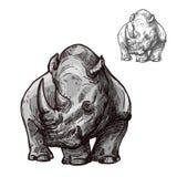 Schizzo isolato animale di rinoceronte del rinoceronte africano illustrazione di stock