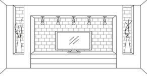Schizzo lineare dell'interno Apprettatrice con la TV e gli scaffali Illustrazione di vettore Fotografie Stock