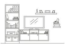 Schizzo lineare dell'interno Scaffale, apprettatrice con la TV e scaffali Illustrazione di vettore Fotografia Stock
