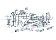 Schizzo a mano libera di esterno del giardino botanico esotico circondato dai cespugli e dagli alberi che crescono in vasi Disegn illustrazione vettoriale