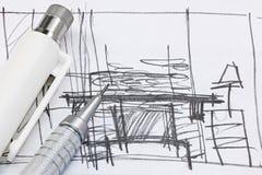 Schizzo a mano libera di interior design con gli strumenti di disegno macro Immagini Stock