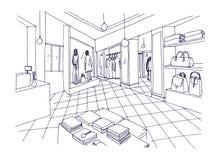Schizzo a mano libera monocromatico della sala d'esposizione dell'abbigliamento, del boutique, del deposito d'avanguardia di modo royalty illustrazione gratis