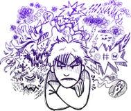 Schizzo molto arrabbiato di doodle dell'uomo Immagine Stock