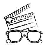 schizzo monocromatico con il cinema di ciac ed i vetri del cinema 3D Fotografia Stock Libera da Diritti