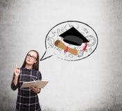 Schizzo nerd di graduazione e della ragazza Immagini Stock Libere da Diritti