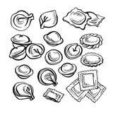 Schizzo Pelmeni disegnato a mano Gnocchi della carne Alimento cottura Fotografia Stock Libera da Diritti