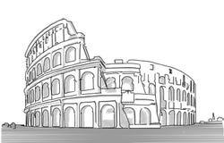 Schizzo pulito di Dranw della mano di Roma Colosseum, Fotografie Stock
