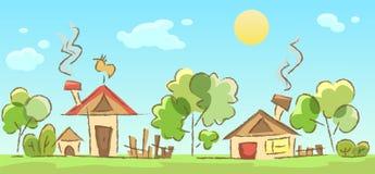 Schizzo rurale del paesaggio Fotografie Stock