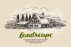 Schizzo rurale del paesaggio Azienda agricola, casa di campagna, illustrazione di vettore del cottage illustrazione vettoriale