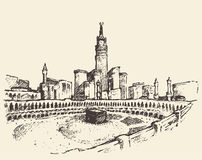 Schizzo santo dei musulmani di Kaaba Mecca Saudi Arabia Fotografie Stock Libere da Diritti