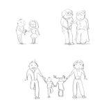 Schizzo stabilito delle coppie della famiglia di tiraggio della mano della gente del fumetto illustrazione vettoriale