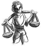 Schizzo stilizzato di un uomo con le scale isolate Fotografia Stock Libera da Diritti