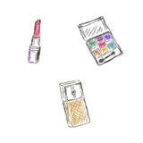 Schizzo, trucco, prodotti, cosmetici, illustrazione di vettore Fotografie Stock