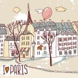Schizzo urbano di Parigi Fotografie Stock Libere da Diritti