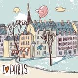 Schizzo urbano di Parigi Immagini Stock Libere da Diritti