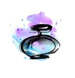 Schizzo viola luminoso della bottiglia di profumo di colore del vivvid Immagine Stock Libera da Diritti
