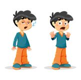 Schläfrige entsetzte Jungen-Ausdrücke Lizenzfreies Stockbild