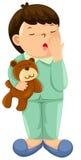 Schläfriger Junge mit Teddybären Stockfotos