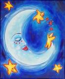 Schläfriger Mond Stockfoto