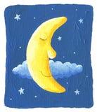 Schläfriger Mond und die Sterne auf dem blauen Hintergrund