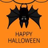 Schläger, der am Baumring hängt Glückliche Halloween-Karte Nette Zeichentrickfilm-Figur mit großen Flügel, den Ohren und den Bein Stockfotos